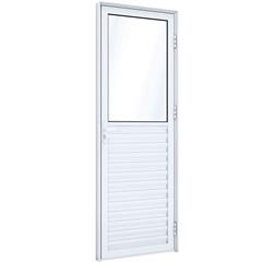 Porta de Giro em Alumínio Mista Direita com Ventilação 215x85cm Branca - Lucasa