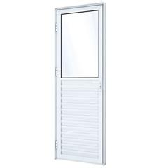 Porta de Giro em Alumínio Mista Esquerda com Ventilação 215x85cm Branca - Lucasa