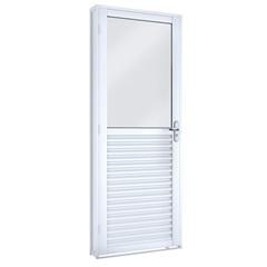 Porta de Giro Lado Direito com Vidro Inteiro Branca 215x86x65cm - Lucasa