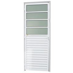 Porta Direita com Basculante E Vidro em Alumínio Linha 25 210x86cm Branca - Brimak