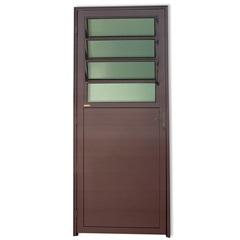 Porta Direita com Basculante E Vidro em Alumínio Super 25 210x86cm Cortem - Brimak
