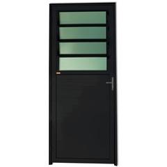 Porta Direita com Basculante E Vidro em Alumínio Super 25 210x86cm Preta - Brimak