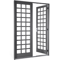 Porta Direita com Grade Quadriculada Silenfort 217x140cm Cinza - Sasazaki