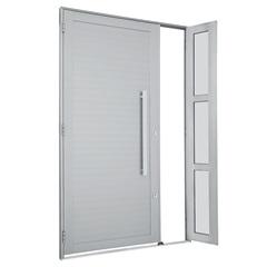 Porta Direita com Lambri Horizontal E Puxador Alumifort 216x120cm Branca - Sasazaki