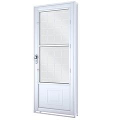 Porta Direita com Postigo E Grade Quadrada Facilità 215x90x12cm Branca - Lucasa
