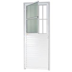 Porta Direita com Postigo E Vidro em Alumínio Linha 25 210x80cm Branca - Brimak