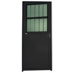 Porta Direita com Postigo E Vidro em Alumínio Super 25 210x86cm Preta - Brimak