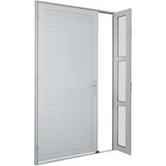 Porta Direita com Seteira E Lambri Horizontal Alumifort 216x120cm Branca - Sasazaki