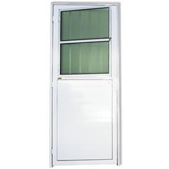 Porta Direita em Alumínio L-25 com Lambris E Grade 210x86cm Branca - Brimak