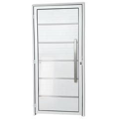 Porta Direita em Alumínio Premium com Lambris E Puxador 210x90cm Branca - Brimak