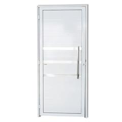 Porta Direita em Alumínio Super 25 com Lambris, Frisos E Puxador 210x90cm Branca - Brimak