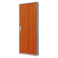 Porta em Duraplac Direita com Batente em Aço 215x75cm Mogno E Cinza - Riobras