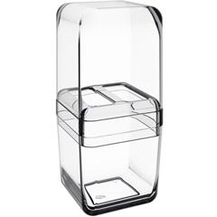Porta Escova com Tampa Cube 19,5x8,5cm Cristal - Coza