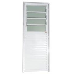 Porta Esquerda com Basculante E Vidro em Alumínio Linha 25 210x86cm Branca - Brimak