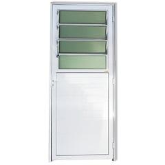Porta Esquerda com Basculante E Vidro em Alumínio Super 25 210x86cm Branca - Brimak
