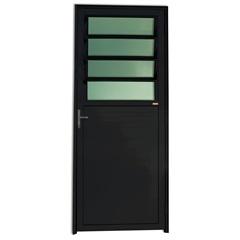 Porta Esquerda com Basculante E Vidro em Alumínio Super 25 210x86cm Preta - Brimak