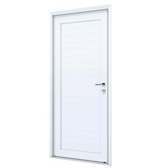 Porta Esquerda com Lambri E Maçaneta Eccellente 215x85cm Branca - Lucasa