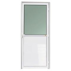 Porta Esquerda com Lambri E Vidro em Alumínio Super 25 210x90cm Branca - Brimak