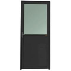 Porta Esquerda com Lambri E Vidro em Alumínio Super 25 210x90cm Preta - Brimak