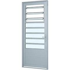Porta Esquerda com Lambri Horizontal E 3 Básculas Alumifort 216x88cm Branca - Sasazaki