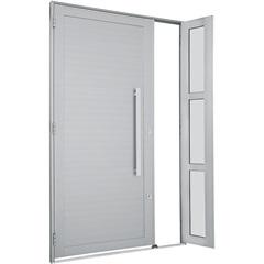 Porta Esquerda com Lambri Horizontal E Puxador Alumifort 216x120cm Branca - Sasazaki