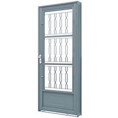 Porta Esquerda com Postigo E Grade Mosaico Premium 215x90cm Cinza - Lucasa