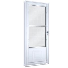 Porta Esquerda com Postigo E Grade Quadrada Facilità 215x90cm Branca - Lucasa
