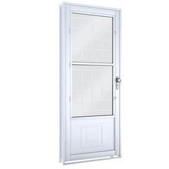 Porta Esquerda com Postigo E Grade Quadrada Facilità 215x90x12cm Branca - Lucasa
