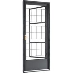 Porta Esquerda com Postigo E Grade Quadriculada Belfort 217x87cm Cinza - Sasazaki