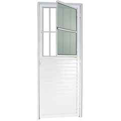 Porta Esquerda com Postigo E Vidro em Alumínio Linha 25 210x80cm Branca - Brimak