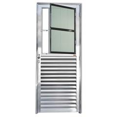 Porta Esquerda com Postigo E Vidro em Alumínio Linha 25 210x80cm Brilhante - Brimak
