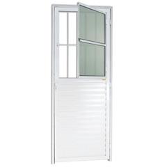 Porta Esquerda com Postigo E Vidro em Alumínio Super 25 210x86cm Branca - Brimak
