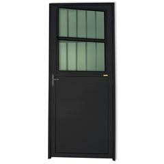 Porta Esquerda com Postigo E Vidro em Alumínio Super 25 210x86cm Preta - Brimak