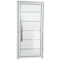 Porta Esquerda em Alumínio Premium com Lambris E Puxador 210x90cm Branca - Brimak