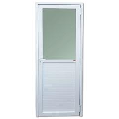 Porta Esquerda Mista com Vidro Temperado em Pvc 216x80cm Branca - Brimak