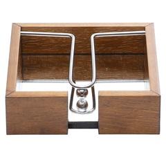 Porta Guardanapo em Madeira com Espelho E Aramado 15x4,5cm - WoodArt