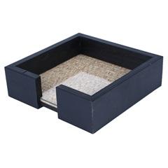 Porta Guardanapo em Madeira com Vidro 15x4,5cm Azul - WoodArt
