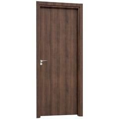 Porta Interna Direita para Banheiro Aluminium 215x78x14cm Mogno - Sasazaki