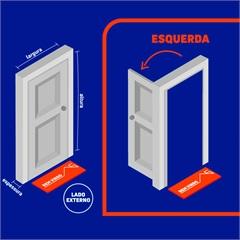 Porta Interna Esquerda Aluminium 215x88x14cm Branca - Sasazaki