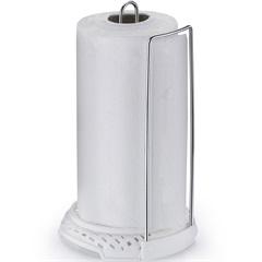 Porta Papel Toalha em Aço Rattan Cromado E Branco - Arthi