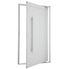 Porta Pivoltante Lambris Horizontais com Puxador 223x126cm Esquerda Branca - Sasazaki