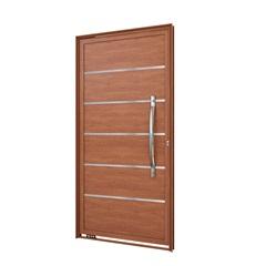 Porta Pivotante Amadeirado Brilhante com Friso E Puxador Esquerdo 215x105x8cm - Lucasa