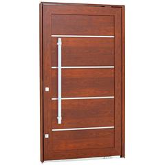 Porta Pivotante Direita com Friso, Lambri Horizontal E Puxador Aluminium 223,5x126,2cm Madeira - Sasazaki