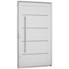 Porta Pivotante Direita com Friso, Lambri Horizontal E Puxador Aluminium 243,5x146,2cm Branca - Sasazaki