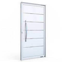 Porta Pivotante Direita com Lambri E Puxador E com Friso em Alumínio 215x105cm Branca - Lucasa