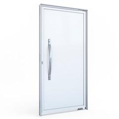 Porta Pivotante Direita com Lambri E Puxador E sem Friso em Alumínio 215x105cm Branca - Lucasa