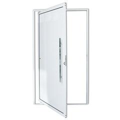 Porta Pivotante Direita com Lambri E Puxador em Alumínio 210x100cm Branca - Brimak