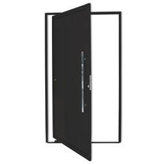 Porta Pivotante Direita com Lambri E Puxador em Alumínio 210x100cm Preta - Brimak