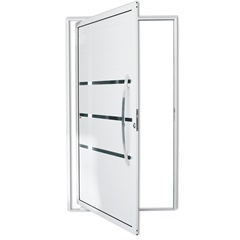 Porta Pivotante Direita com Lambri E Puxador em Alumínio Evolution 210x100cm Branca