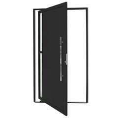 Porta Pivotante Direita com Lambri E Puxador em Alumínio Visione 210x100cm Preta - Brimak